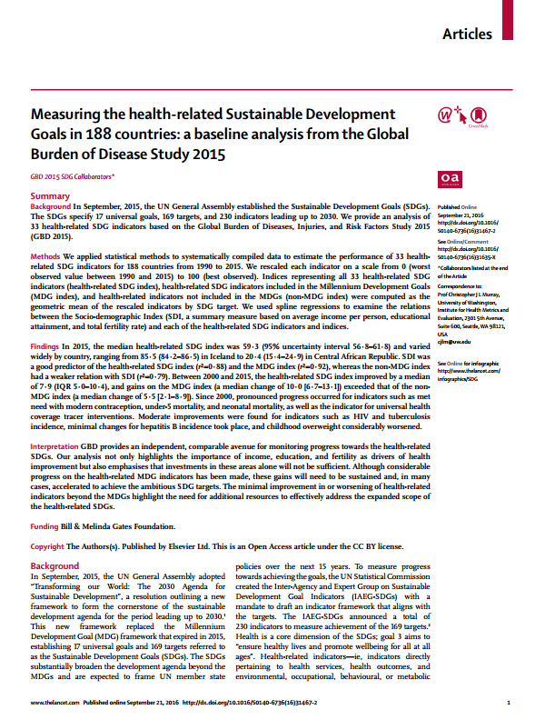 improvement health related sustainable development